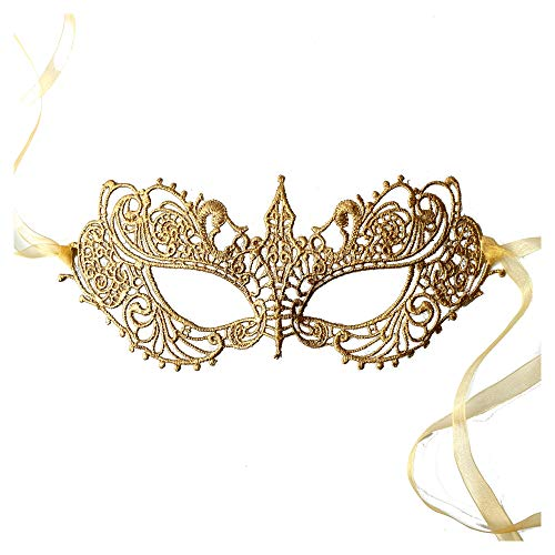 Samantha Peach Masquerade Mask - Authentic Luxury Lace Goddess Women's Masquerade Ball Mask in Gorgeous Gold - Perfect for Prom, Costume Parties and Masquerade Events - Handpainted and Handtied (Masquerade Mask Gold)