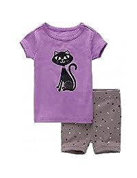 Hooyi Baby Girl Sleepwear Cotton Children Short Sleeve Cartoon Cat Pajamas Set