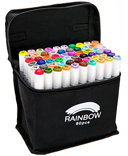 Rainbow Premium Dual Tip Pens - 60 Unique Colors - Fineliner & Chisel Tips - Non Bleed - Permanent Ink - Art Marker Set for Coloring, Journaling, Sketching, Lettering, & - Water Shirts Acid