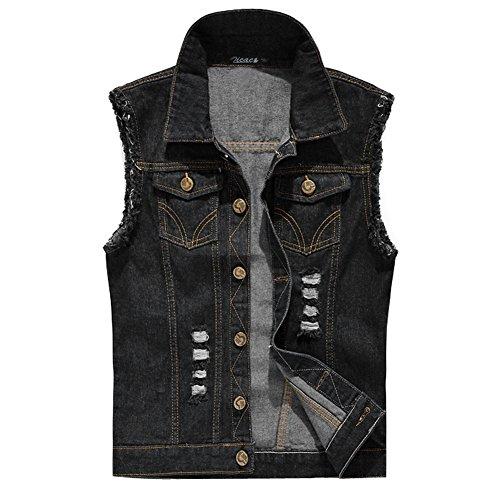 Zicac Men's Top Design Denim Vest Waistcoat with Broken Holes (L, Black)