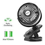 SkyGenius Battery Operated Clip On Oscillating Fan, Rechargeable 4400mA Battery Stroller Fan USB Powered Desk Fan Mini Fan for Office Outdoor Camping Travel Car Gym(2019 Upgraded Version)