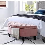 Inspired Home Jolie Blush Velvet Storage Ottoman - Half Moon | Upholstered | Button Tufted | Nailhead | Bedroom