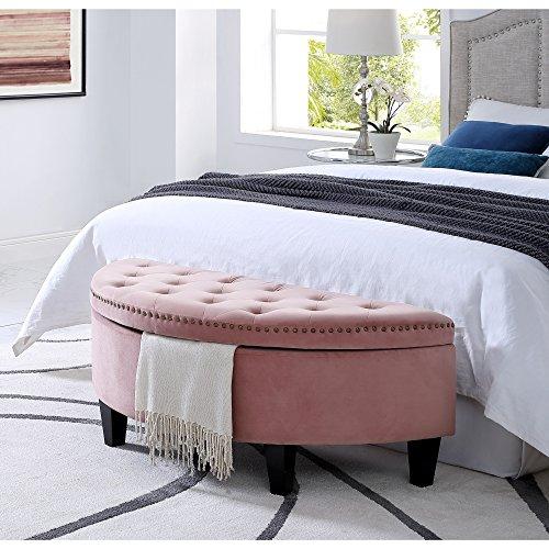 (Inspired Home Jolie Blush Velvet Storage Ottoman - Half Moon | Upholstered | Button Tufted | Nailhead | Bedroom)