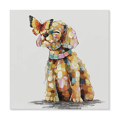 SEVEN WALL ARTS - 100% Hand Painted Oil Paintings Canvas Wall Art Colorful Dog Animal Modern Abstract Artwork Painting for Home Decoration (24 x 24 Inch, Butterfly Alighted on ()