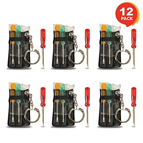 ArtCreativity Mini Screwdriver Set for Kids with Keychain - Set of 12 - Each Set Includes 3 Screw Drivers in a Portable Pouch - Cool Birthday Party Favor for Boys, Girls, Adults - Goodie Bag Filler ()