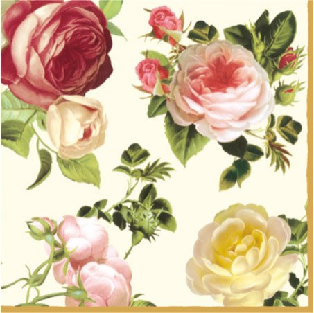 Paper Luncheon Napkins 40pcs 13''x13'' 4-color Roses White, Yellow, Light & Dark Pink, Decoupage by Luxuriousness