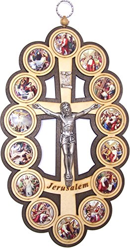 Holy Land Market Two colors/tones wooden Crucifix - icon showing 14 Stations of the Cross from Bethlehem