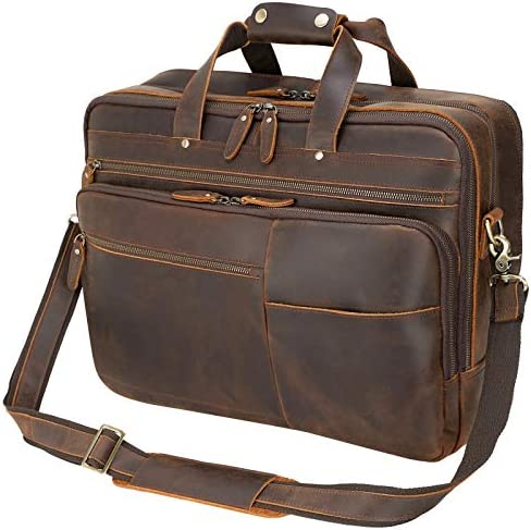 Texbo Large Leather Business Briefcase for Men 18″ Full Grain Leather Laptop Case Messenger Bag Fits 17.3″ Laptop