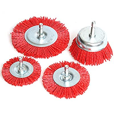 """4Pcs Abrasive Wire Wheel Brush Nylon Cup Brush 2""""/3Inch/4"""" for Drill Rotary Tool,for Wood Polishing Deburring Cleaning 1/4"""" Shank"""