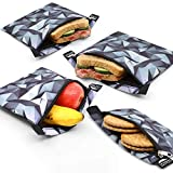 Nordic By Nature Sandwich bags (Black & Grey) Reusable Sandwich & Snack Bags | Extra Foil Layer For Better Hygiene | Designer Set of 4 Pack | Resealable, Reusable and Eco Friendly Dishwasher Safe Bags
