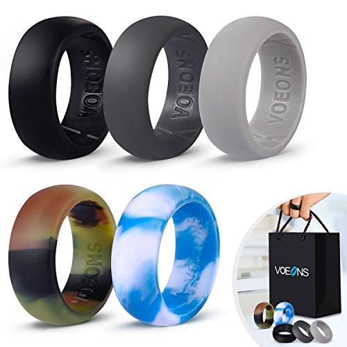 VOEONS Men's Silicone Wedding Ring Set 5 Pack