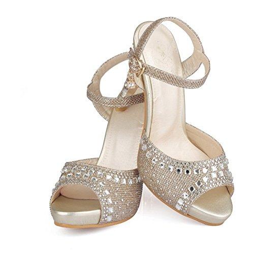 Adee Mujer Lentejuelas hebilla sandalias de material suave Dorado - dorado