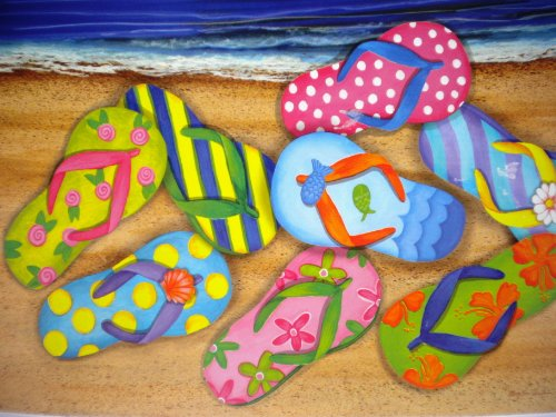 Beach-Flip-Flops-Washable-Plastic-Vinyl-Placemats-Set-of-Four