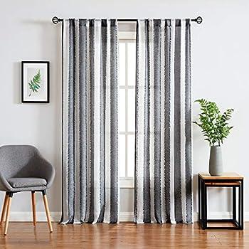Amazon.com: Fragrantex Stripe Black-White Sheer Curtains ...