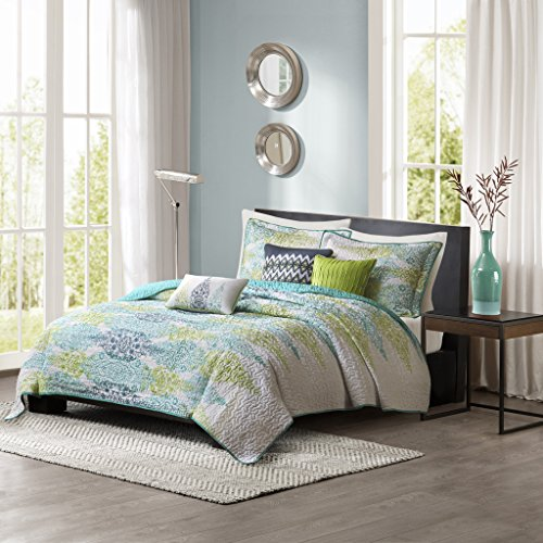 (Madison Park Sonali 6 Piece Quilted Coverlet Set, King/California King, Blue)
