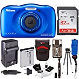 Cheap Nikon Coolpix W100 Rugged Digital Camera (Blue) + 32GB Card + Battery with Charger + Floating Strap + Bundle