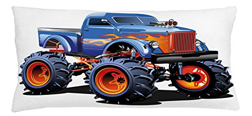 Man Cave Throw Pillow Cushion Cover by Lunarable, Cartoon Monster Truck with Huge Tyres Off-road Heavy Large Tractor Wheels Turbo, Decorative Square Accent Pillow Case, 36 X 16 Inches, - Dye Tyre