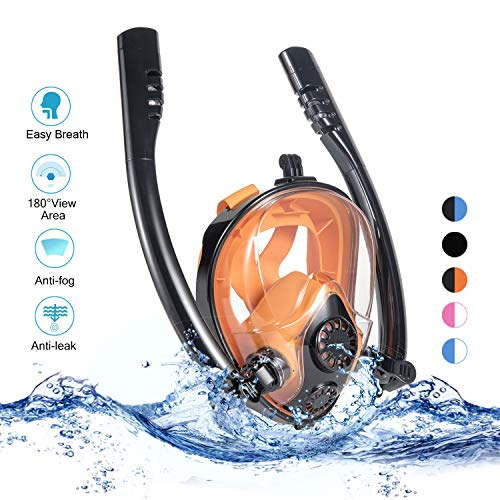 Full Face Snorkel Mask,[2019 Newest] Double Tubes Diving Mask 180 Panoramic View Free Breathing Full Face Snorkeling Mask, Anti Fog and Anti Leak, Black & Orange,L/XL Size ()