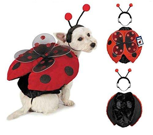 [Ladybug Dog Costume - Adorable Plush Winged Red & Black 2 Piece Cute as a Bug !(Large)] (Pet Ladybug Costume)