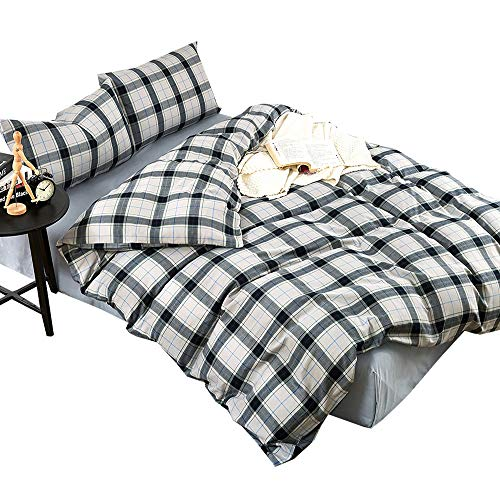 Grey Plaid Queen Duvet Cover Set Cotton Flannel Feel Luxury Full Bedding Set Warm Soft Hotel Quality Checkered Duvet Comforter Cover Set 1 Duvet Cover with 2 Pillowcases