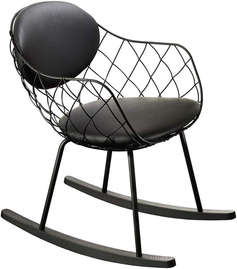 HYYTY-Y Sola Silla Mecedora de Hierro Forjado, sillón Informal de Tela, Apta para terraza al Aire Libre 708-YY (Color : Black)