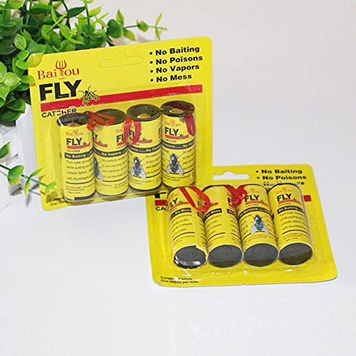 Adealink 4/8/12/16Pcs Fly Sticky Paper Strip Strong Glue Flying Insect Bug Mosquitos Catcher Roll Tape