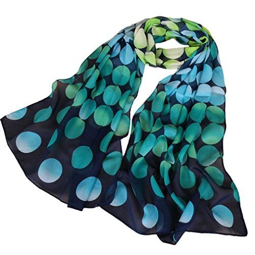 LMVERNA Women's polka dot scarfs Floral Scarves Chiffon Flowers Birds Scarf (Navy blue+Green)