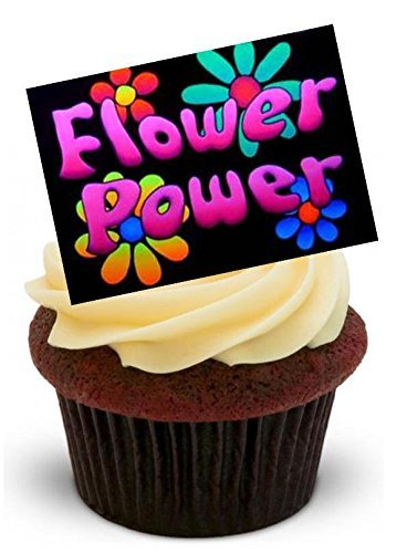 FLOWER POWER Design Black Background 60s SIXTIES GROOVY - Fun Novelty PREMIUM STAND UP Edible Wafer Paper Cake Toppers Decoration