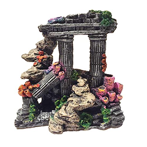 Evergreen Simulation Resin Roman Column Aquarium Decorations Fish Tank Rock Ruins Plants Decor Aquarium Decoration (Column Ruins Aquarium Ornament)