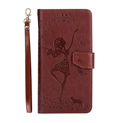 Abnehmbare 2 in 1 Crazy Horse Texture PU Ledertasche, Fairy Girl Embossed Pattern Flip Stand Case Tasche mit Lanyard & Card Cash Slots für Huawei Y6 II (2. Generation) ( Color : Rosegold ) Brown