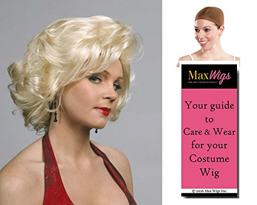 Sandy Grease color BLONDE - Enigma Wigs Lady Xanadu Olivia Newton John Sexy Marilyn Zanadoo Bundle with Cap, MaxWigs Costume Wig Care Guide