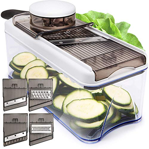 Adjustable Mandoline Slicer Vegetable Slicer - Potato Slicer Veggie slicer 5 Blades - Vegetable Cutter Slicers for Fruits and Vegetables - Grater & Julienne - Noodle Mandolin