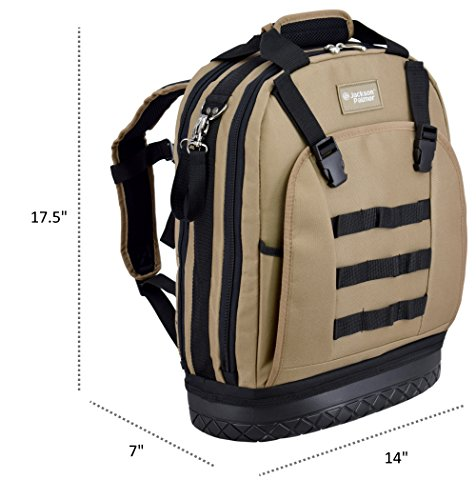 Jackson Palmer Professional Tool Backpack, Comfort-Design with Optimized Pockets (Carpenters Tool Bag with Rubber Base) by Jackson Palmer (Image #1)