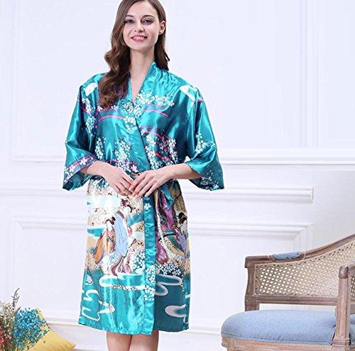 ZC&J La Sra seda del verano de la manga de baño pijamas de seda de gran tamaño chándal sola camisón,pink,XL Green