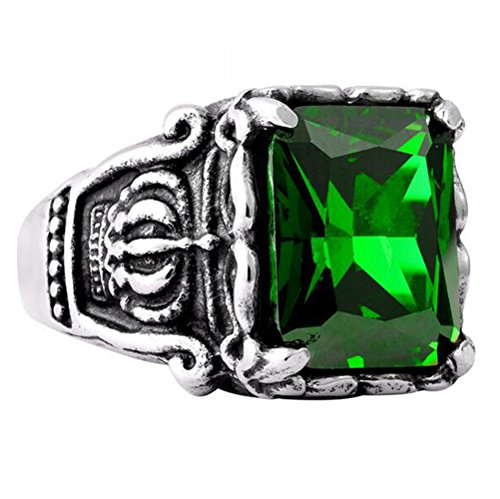 UNAPHYO Men's Crown Cubic Zirconia Silver Stainless Steel Green CZ Crystal Ring Vintage Size - Ring Emerald Class
