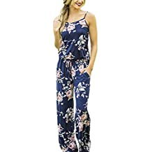 Assivia Womens Printed Strap Sleeveless Casual Wide Long Pants Jumpsuit Rompers