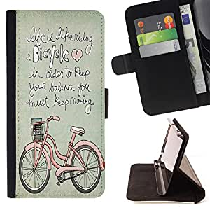 - Bicycle Retro - - Style PU Leather Case Wallet Flip Stand Flap Closure Cover FOR HTC One M7 - Devil Case -