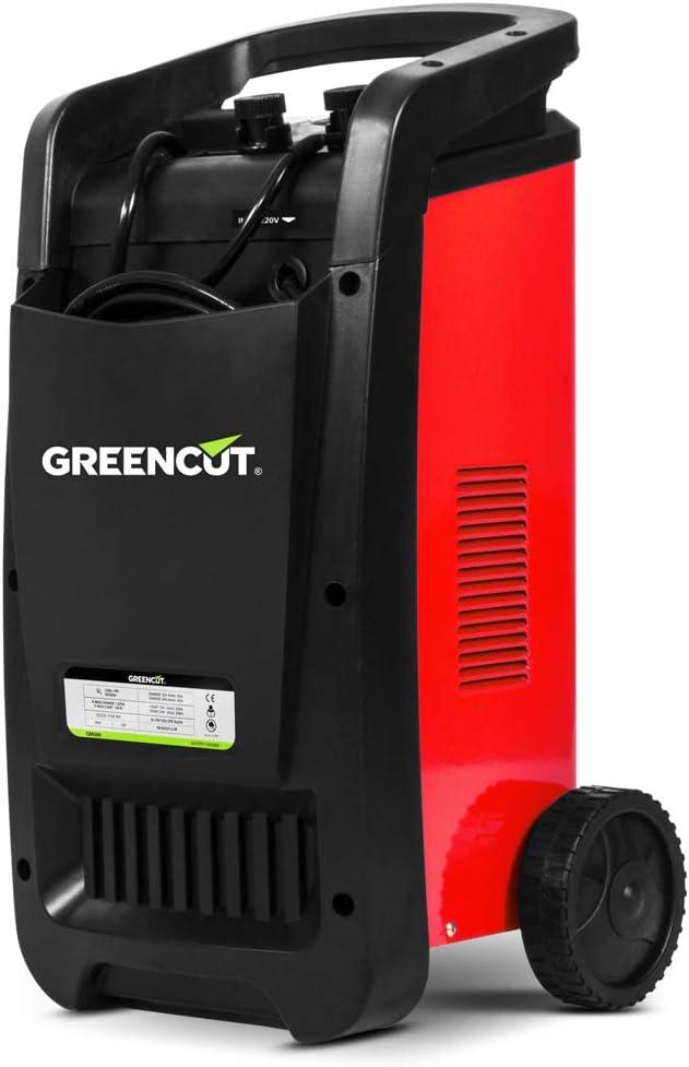 GREENCUT CRB500 - Cargador automático de batería multifunción monofásico de 12V/24V y 50A, cargador con opciones de Carga Rápida y Normal