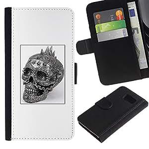 Billetera de Cuero Caso Titular de la tarjeta Carcasa Funda para Samsung Galaxy S6 SM-G920 / Punk Skull Black White Poster Biker / STRONG