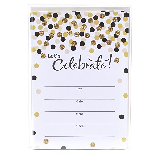 Hallmark Party Invitations (Let's Celebrate with Gold and Black Dots, Pack of 20) -