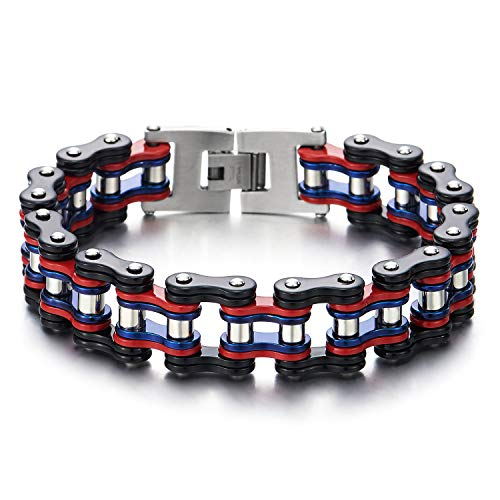COOLSTEELANDBEYOND Masculine Style Mens Bike Chain Bracelet, Stainless Steel, Silver Black Red Blue, High Polished