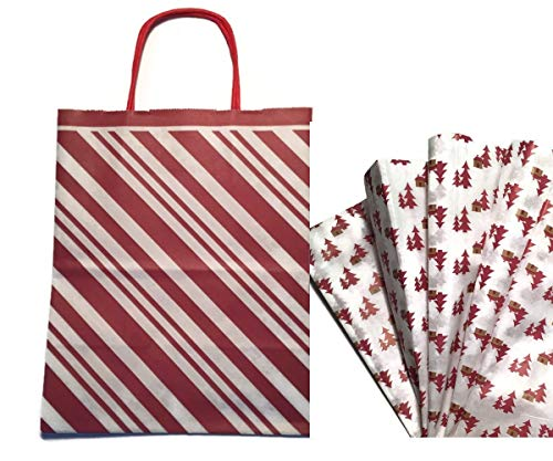 Gift WRAP Set: Christmas Gift Bags with Tissue Paper Bundle, Set of 6 (Recycled Peppermint Stripe with Woodland Cabin)