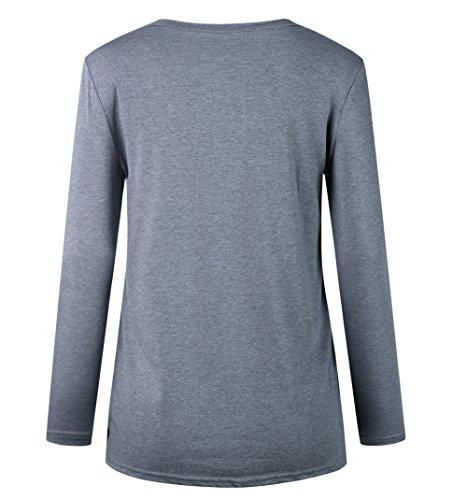 Gris Imprime Blouse Rond et T Shirts Chemisiers Femmes Shirts Hauts Printemps Manches Sweat Col Tops Jumpers Tees Longues Casual Automne ga6xqXH