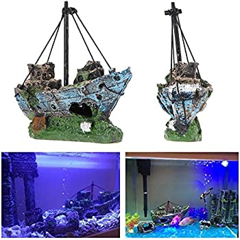 superdream Resin Fishing Boat Aquarium Ornament Plastic Decoration Sunken Pirate Ship Theme