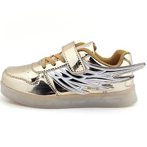 Lvxingse 25-37 Kid Boy Girl Upgraded USB Charging LED Light Sport Shoes Flashing (Girls Sheos)