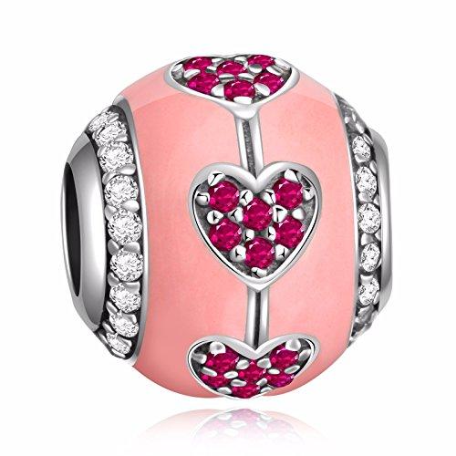 HQCROW 925 Sterling Silver Pink CZ Heart Enamel Vintage Charms Bead Fit European Snake Chain (Enamel Silver Vintage Bracelets)