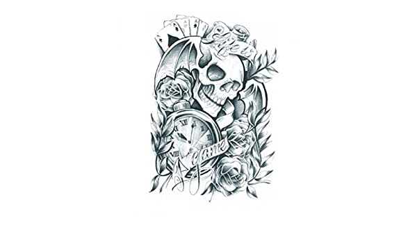 Amazon.com : Halloween Tattoo for adults terrible skull with roses and clock realistic and nontoxic fake tattoo stickers : Beauty