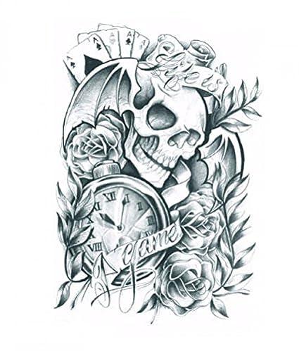 Adhesivo de Halloween para adultos Terrible calavera con rosas y realista y no tóxica tatuaje falso