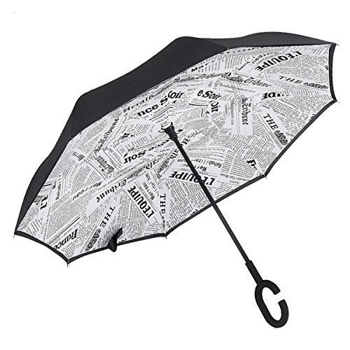 Moschino Umbrella (AchimeDES UV Protection Inverted Umbrella - Double Layer Reverse Umbrella, Self-Stand & C Shape Handle, Inside Out, Windproof & Water Repellent Blue)