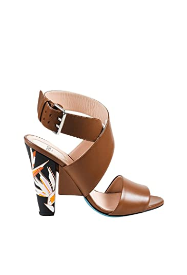 72899500b19 Image Unavailable. Image not available for. Color  Fendi Women s Brown Black  Multicolor Leather Strappy Floral Heel Sandals SZ 37.5